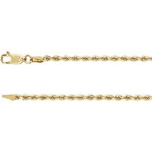 "14K Yellow 2.4mm Diamond Cut Rope 24"" Chain by"