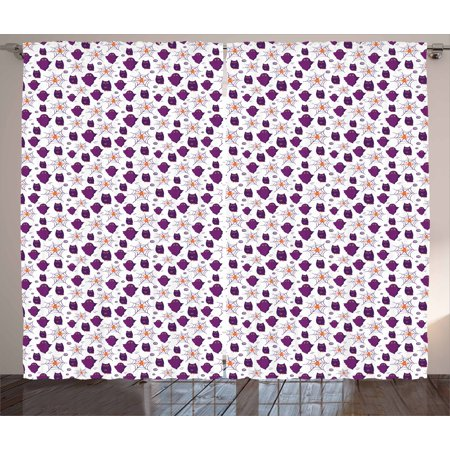 Ghost Curtains 2 Panels Set, Halloween Party Themed Pattern with Owl Figures and Spider Webs on White, Window Drapes for Living Room Bedroom, 108W X 108L Inches, Purple Orange White, by Ambesonne](Halloween Opening Theme Mp3)
