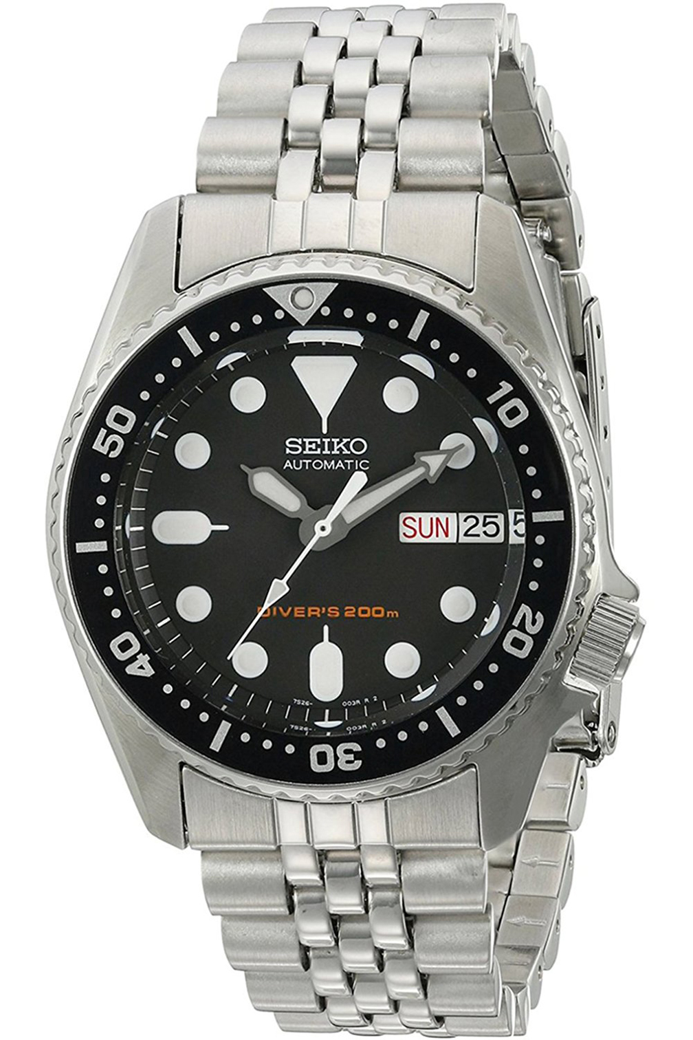 SKX013K2,Men's Automatic Diver,Mid-size,Self Winding,Stainless Steel Case,Screw Crown,200m WR,SKX013