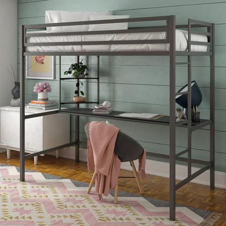 Novogratz Maxwell Metal Twin Loft Bed with Desk & Shelves, Gray with Black Desk Full Size Bunk Bed Desk
