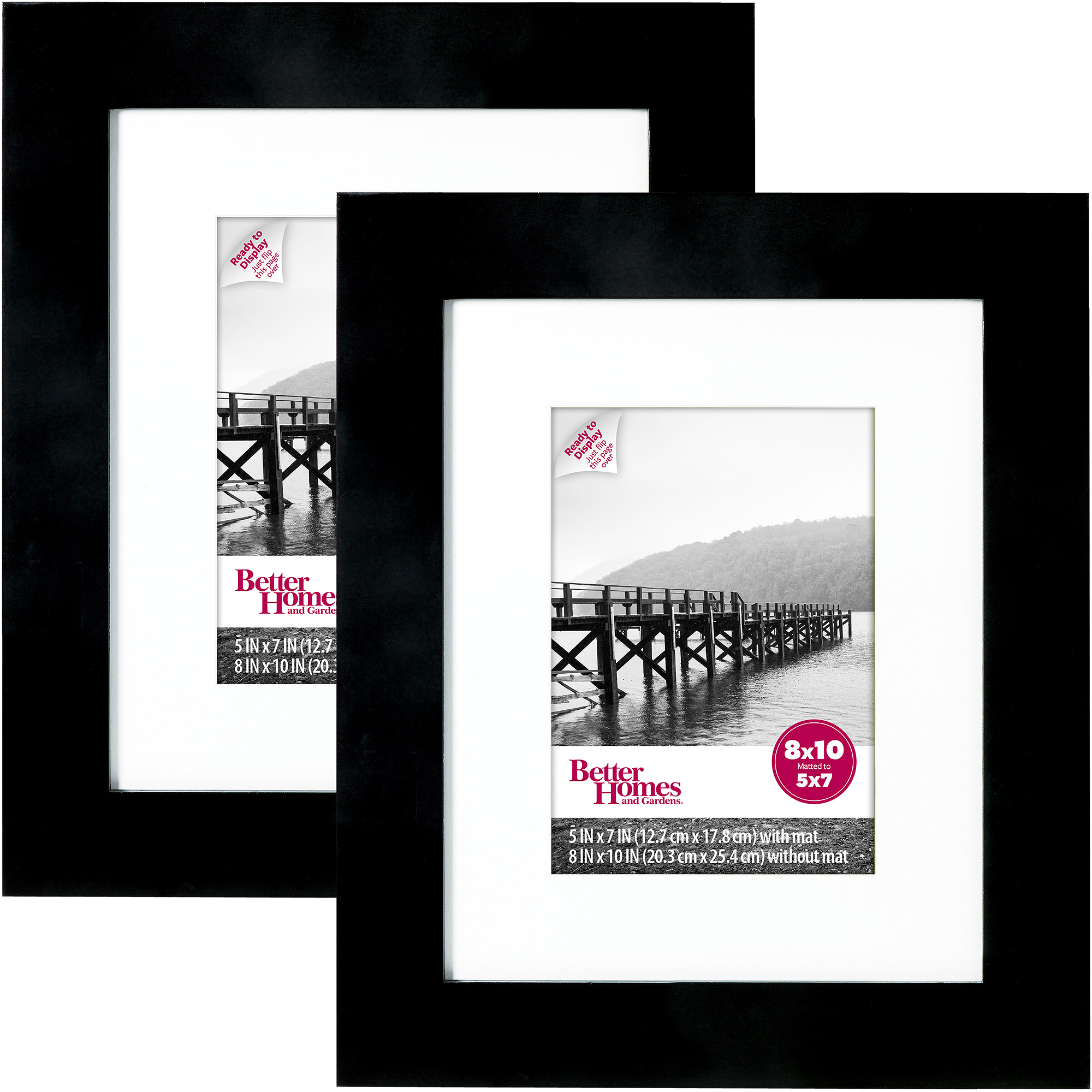 Better Homes and Gardens 8x10 Wide Picture Frame, Black, Set of 2