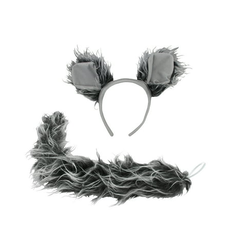 Dragon Tails Halloween Costume (Werewolf Big Bad Wolf Ears Tail Kit Wolfman Grey Costume Set Halloween)