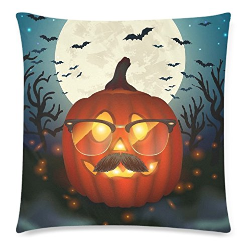ZKGK Halloween Pumpkin Home Decor, Funny Pumpkin Wear Glasses Moon Pillowcase 20 x 30... by ZKGK
