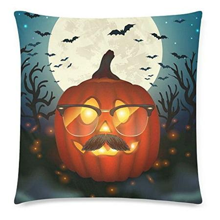 ZKGK Halloween Pumpkin Home Decor, Funny Pumpkin Wear Glasses Moon Pillowcase 20 x 30 Inches,Halloween Gift Pillow Cover Case Shams Decorative](Halloween Pumpkin Funny Pics)