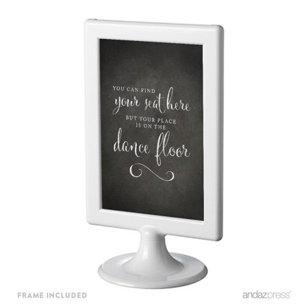 Find Your Seat Here, Place On Dance Floor Framed Vintage Chalkboard Wedding Party Signs - Vintage Halloween Dance Party