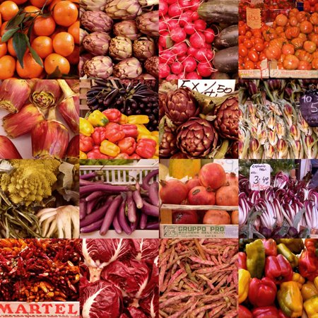 Multiple Views of Colourful Fruit and Vegetable Produce in Venice, Italy Print Wall Art By Mike Burton