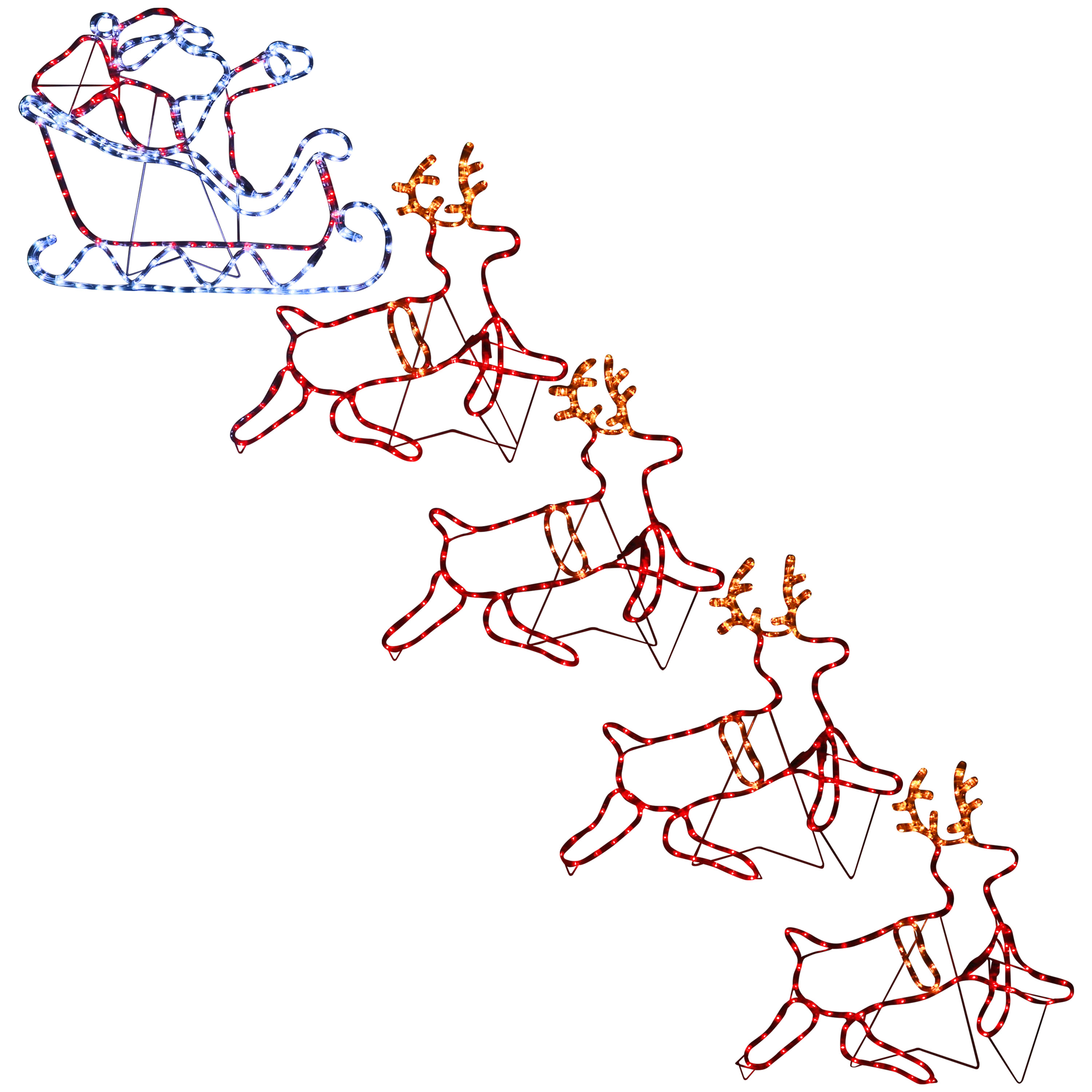 Sunnydaze Outdoor Christmas Light Display Santa on Sleigh with Reindeer, Prelit Holiday Silhouette LED Rope Decoration for Yard & Lawn, 11-Feet Long x 25-Inch Height