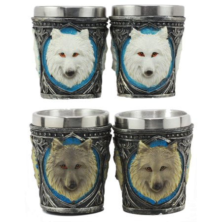Ebros Myths Legends And Fantasy Spirit Themed 2-Ounce Shot Glasses Set Of 4 Resin Housing With Stainless Steel Liners Great Souvenir And Party Hosting Idea (Albino And Gray - Resin Glasses