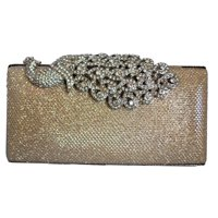 Chicastic Mesh Rhinestone Peacock Hard Box Wedding Cocktail Clutch Purse - Silver