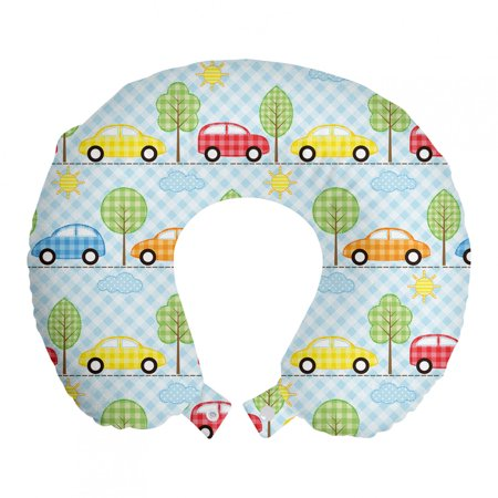 """Baby Travel Pillow Neck Rest, Checkered Background with Cars Trees Sun Open Sky Abstract Geometric Cartoon Design, Memory Foam Traveling Accessory Airplane and Car, 12"""", Multicolor, by Ambesonne"""