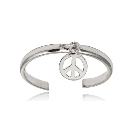 Sterling Silver Polished Dangling Peace Toe Ring