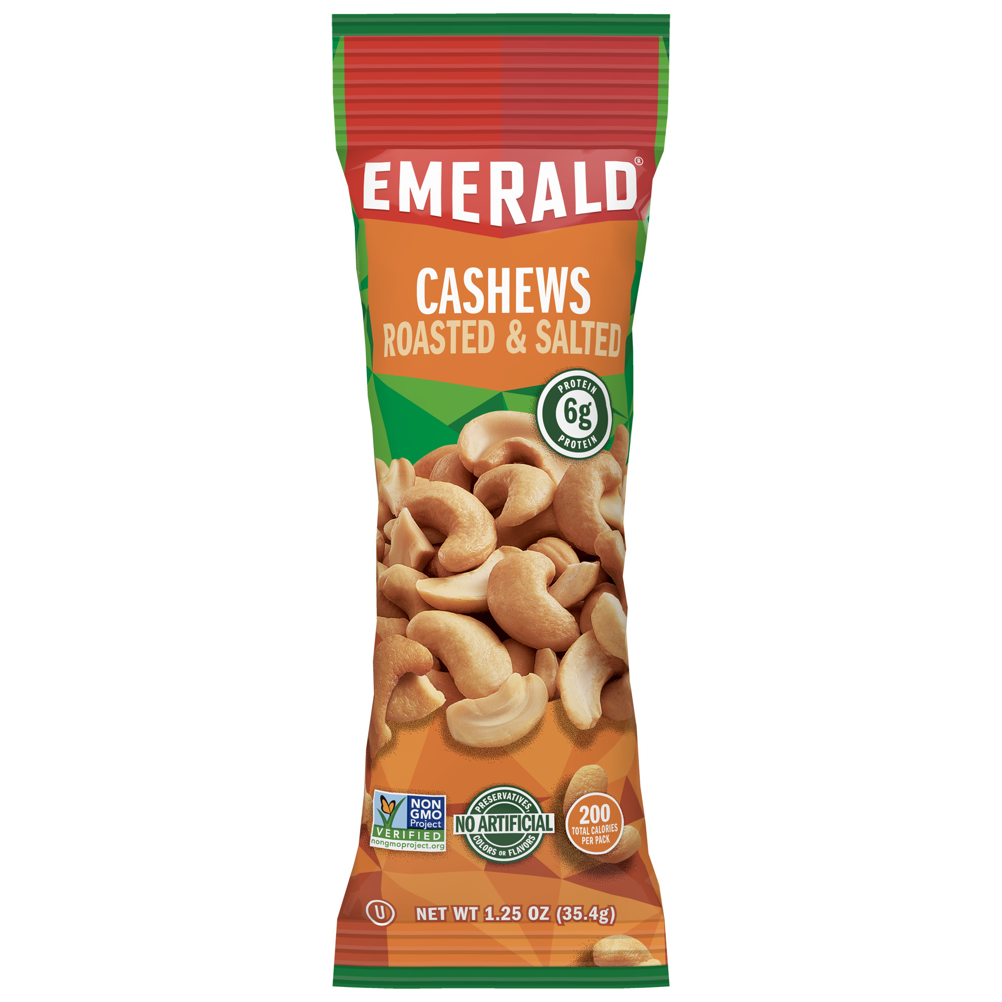 Emerald Nuts Roasted and Salted Cashews, Single-Serve 1.25 Oz, 12 Ct
