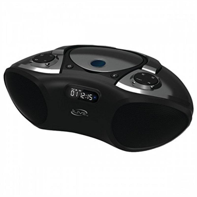 ILIVE Wireless Bluetooth Boombox with CD Player & FM Radi...