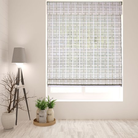 Kona Natural Roman Shade (Arlo Blinds Cordless Whitewash Bamboo Roman Shade - Size: 18