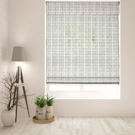- Arlo Blinds Cordless Whitewash Bamboo Roman Shade - Size: 18