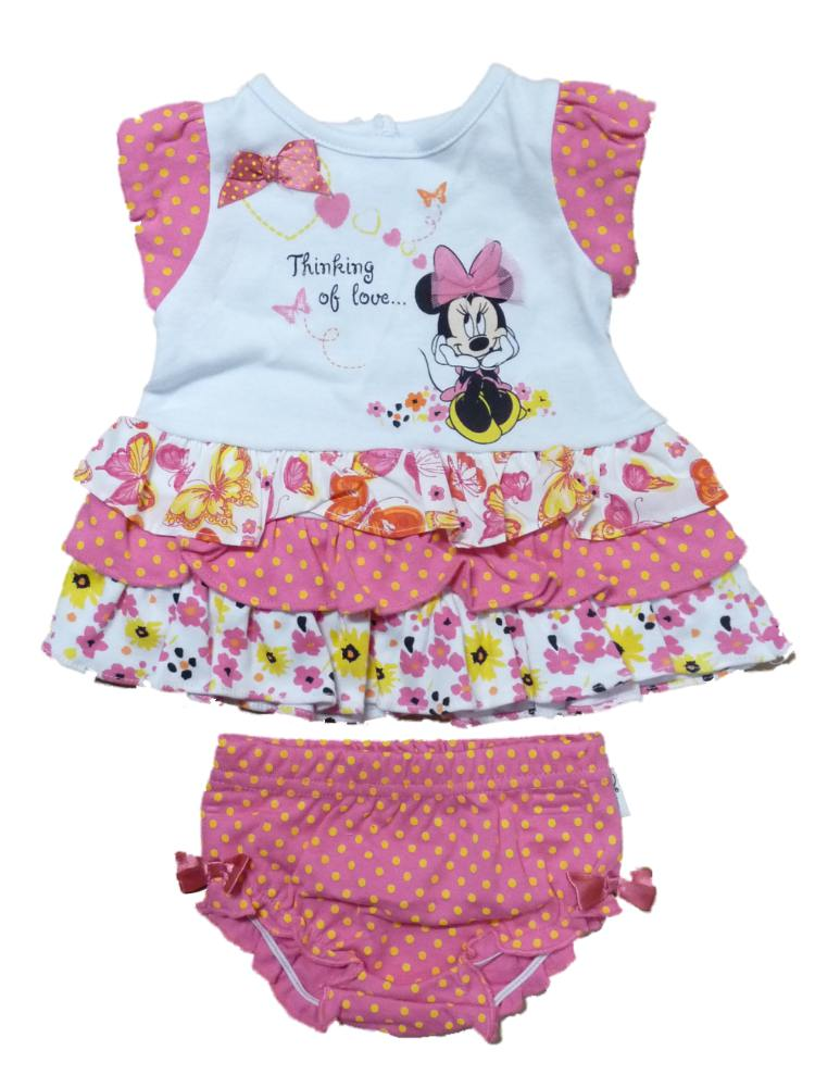 Disney Infant Girl Pink White Minnie Print Ruffled Dress 2 Piece Outfit