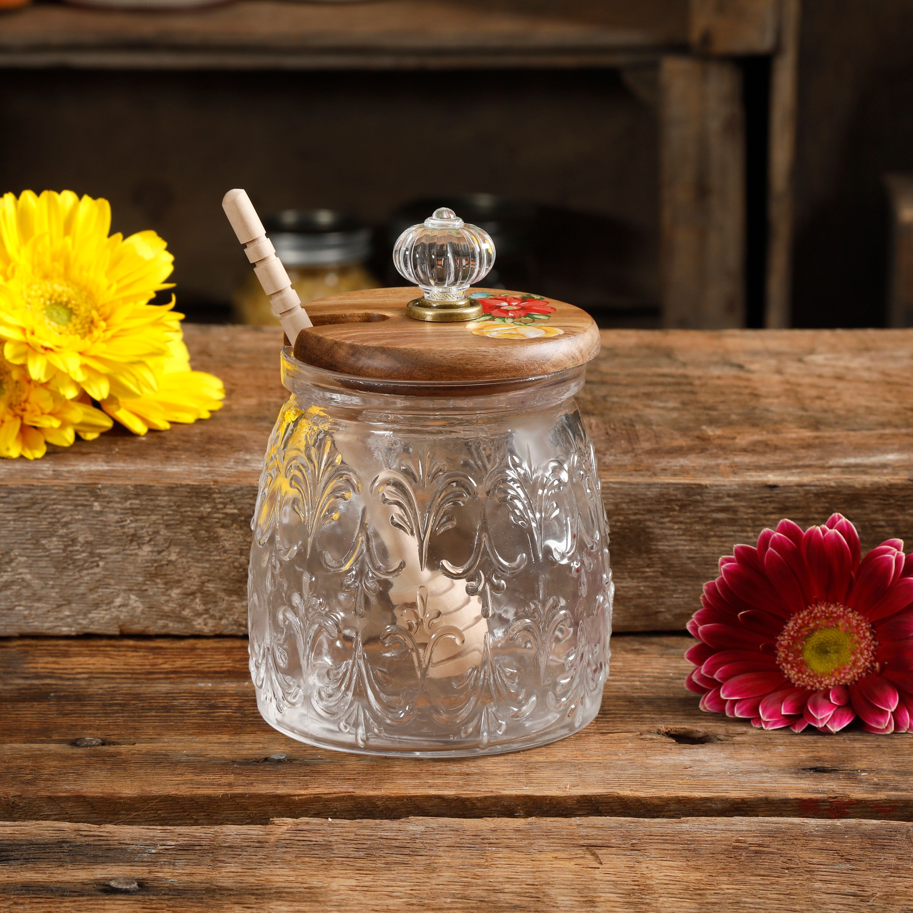 The Pioneer Woman Melody Honey Jar with Wood Dipper
