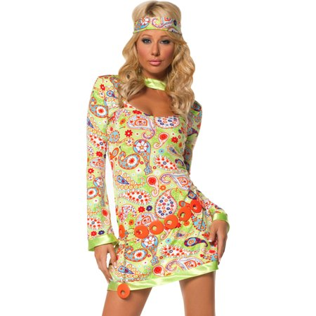 Groovy 70s Dress Tie Dye Flower Power Freedom Hippy Womens Theatrical Costume Sizes: (70's Fashion Costumes)