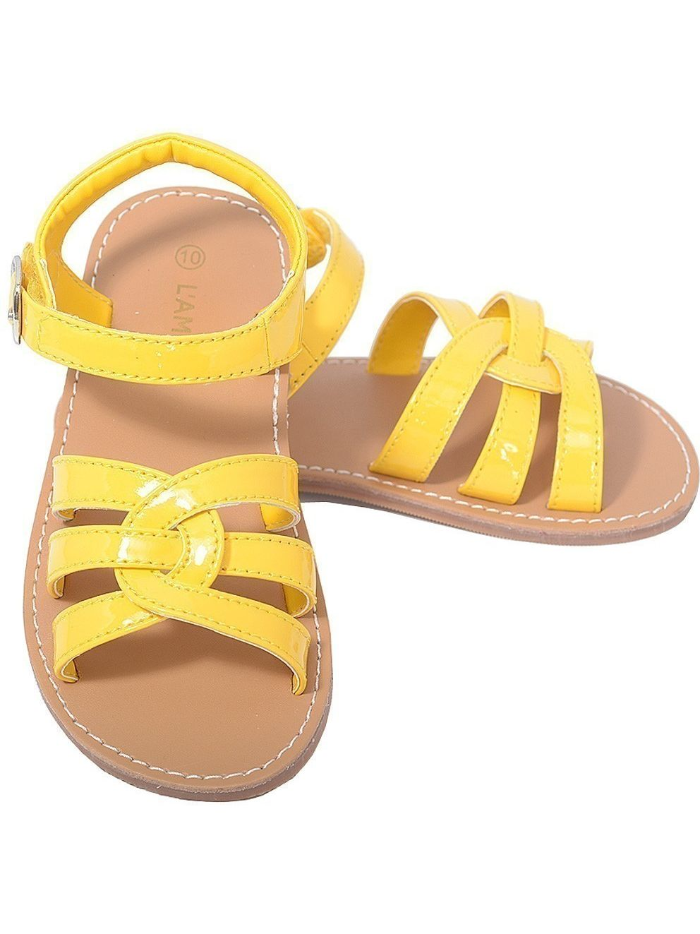 L'Amour Summer Patent Yellow Woven Strap Summer L'Amour Sandals Little Girls 11-4 a3fe34