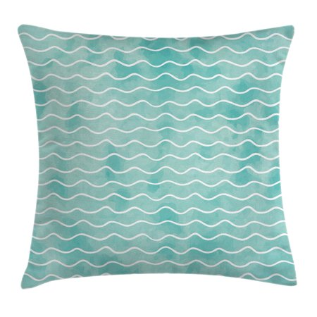 Nautical Throw Pillow Cushion Cover, Soft Pastel Colored Ocean Sea Waves Pattern Summer Vibes Inspired Graphic, Decorative Square Accent Pillow Case, 16 X 16 Inches, Turquoise White, by Ambesonne - Nautical Throw