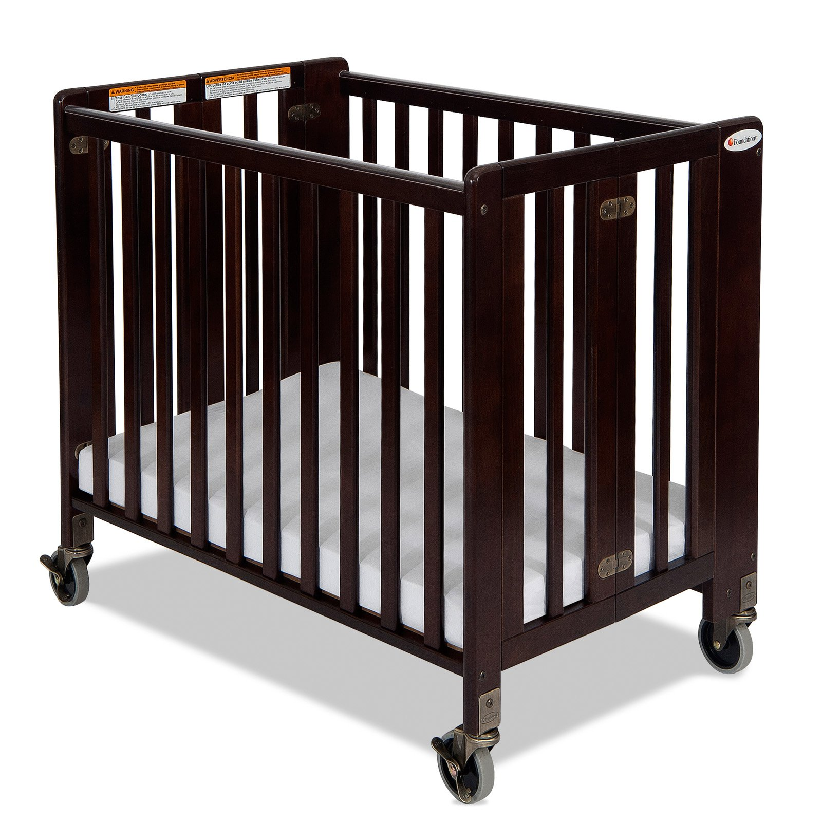 Foundations HideAway Folding Compact Crib - Antique Cherry