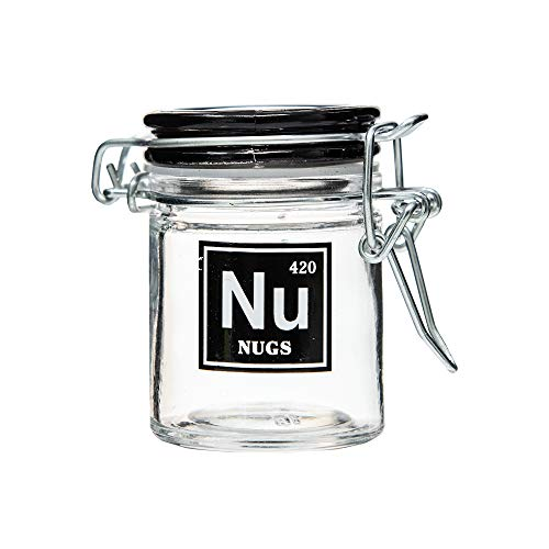 Leaf Check Herb Glass Stash Jar With Airtight Lid 1.6 Oz