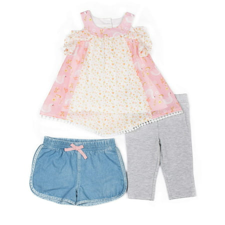 Little Lass Printed Chiffon Top, Denim Short & Capri, 3pc Outfit Set (Baby Girls & Toddler Girls)