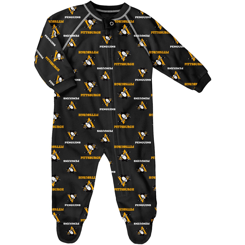 Infant Black Pittsburgh Penguins Allover Print Raglan Sleeper
