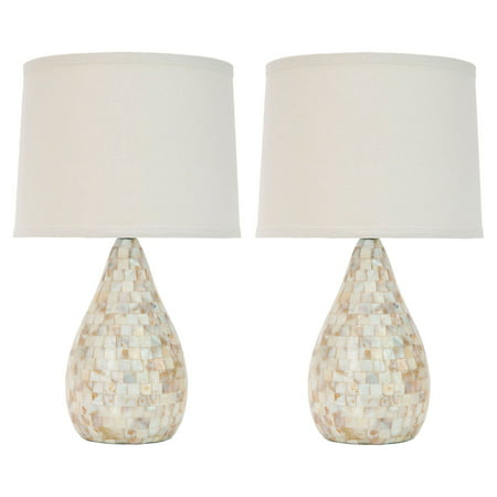 Safavieh Lauralie Capiz Shell Lamp with CFL Bulb, Set of 2