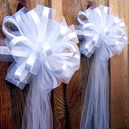 Wedding Pew Bows (Large Assembled White Wedding Pew Bows - 10