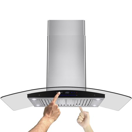 "Image of AKDY 36"" Stainless Curve Glass Island mount Range Hood Baffle Filter Dual Touch Control Panel"