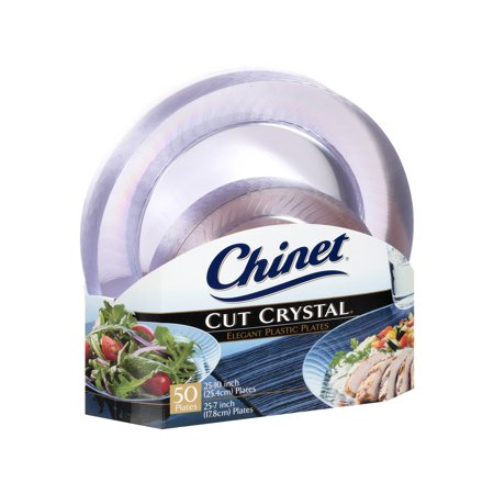 Branded Chinet Cut Crystal Combo Plates (50 ct. 25 dinner plates and 25 desert plates) Pack of 1 [Qty Discount / wholesale - Wholesale Plates