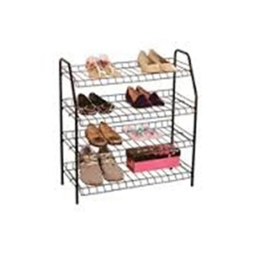 Above Edge AE18405BK 4 Tier Metal Shoe Rack, Black