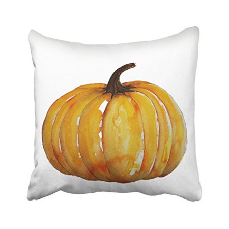 WinHome Cute Vintage Popular Happy Halloween Watercolor Pumpkin Pattern Polyester 18 x 18 Inch Square Throw Pillow Covers With Hidden Zipper Home Sofa Cushion Decorative - Cute Halloween Cover Photos