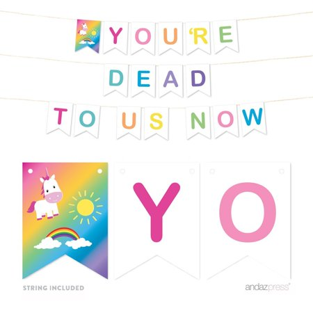 Funny Farewell Retirement Party Decorations, You're Dead to Us Now, Hanging Pennant Paper Banner with String, - Retirement Party Banners