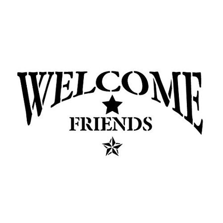 welcome friends stencil by studior12 americana arched with star