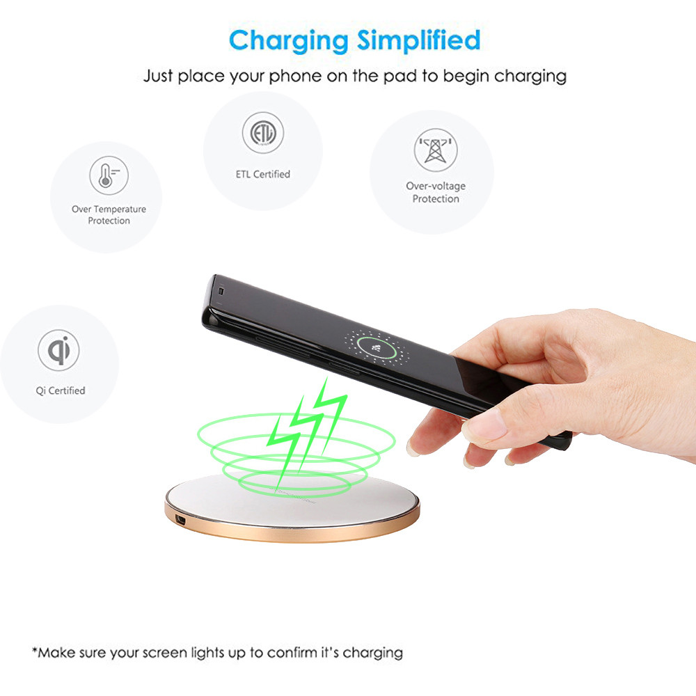 DZT1968 Thin Metal Charge Qi Wireless Charging Stand Dock For Samsung Galaxy S9/S9 Plus
