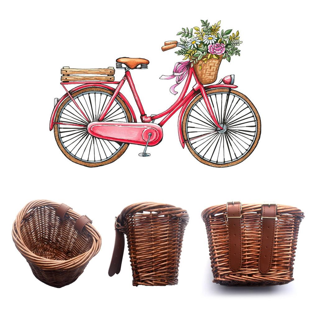 Hand-made Wicker Basket Multi-function Children Bicycle Shopping Basket