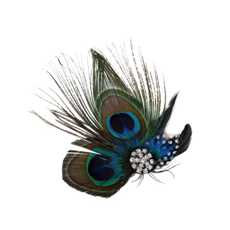 Peacock Feather Hair Clip/Fascinator with Rhinestones, Nature (Peacock Fascinator)
