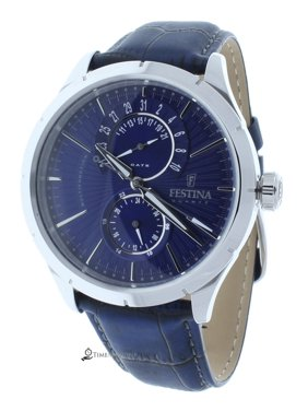 Festina F16573/7 Men's Retro Blue Leather Strap Watch Blue Dial 24-Hour Subdial Display