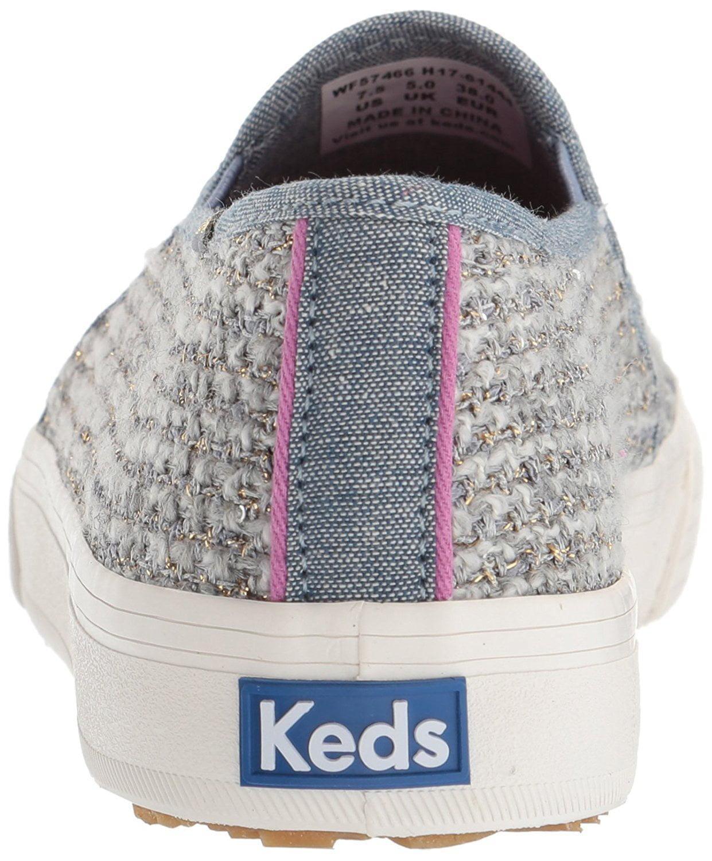 Keds Women's Double Decker Sequin Knit Fashion Sneaker,Gray,9.5 M US