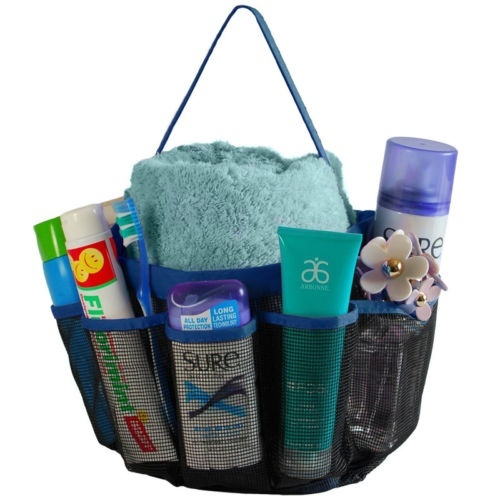 8 Pockets Shower Caddy Mesh Portable Quick Dry Travel Tote Carry Handle Gym ~