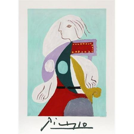 Pablo Picasso 2037 Femme A La Robe Multicolore  44  Lithograph On Paper 29 In  X 22 In    Green  44  White  44  Puple