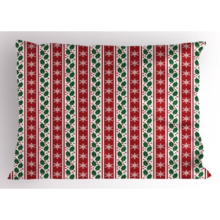Snowflake Pillow Sham Holly Berry Leaves and Snowflakes on Vertical Banners Christmas and New Year, Decorative Standard King Size Printed Pillowcase, 36 X 20 Inches, Ruby Fern Green, by Ambesonne