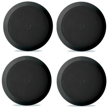 4) NEW Pyle PDIC51RDBK 5.25 Inch 150 Watt Black In-Ceiling Flush Speakers