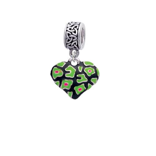 Silvertone Lime Green Cheetah Print Heart - Celtic Knot Charm Bead