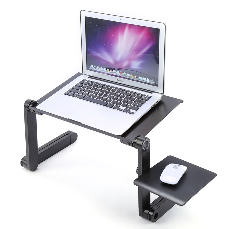 Walfront Portable Adjustable Aluminum Laptop Desk/Stand/Table Vented w/CPU Fans Mouse Pad Side Mount-Notebook-Macbook-Light Weight Ergonomic TV Bed Lap Tray Stand Up/Sitting-Black