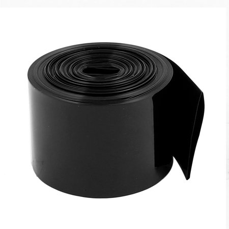 30mm Flat Width 3.2 M Long PVC Heat Shrink Tube Black for 18650 (Long Black Tube)