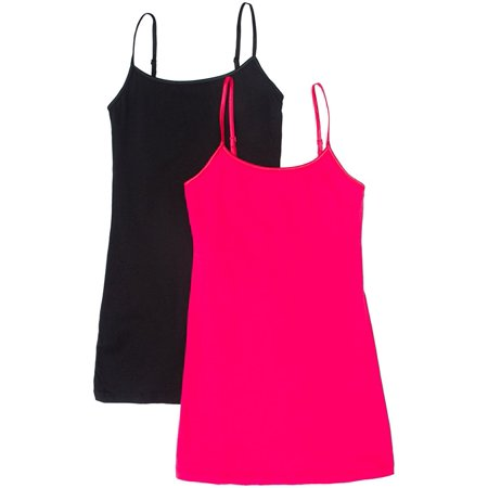Spaghetti Strap Ribbon (Women's & Juniors Camisole Built in BRA Adjustable Spaghetti Strap Long Tank Top - 2 Pack )