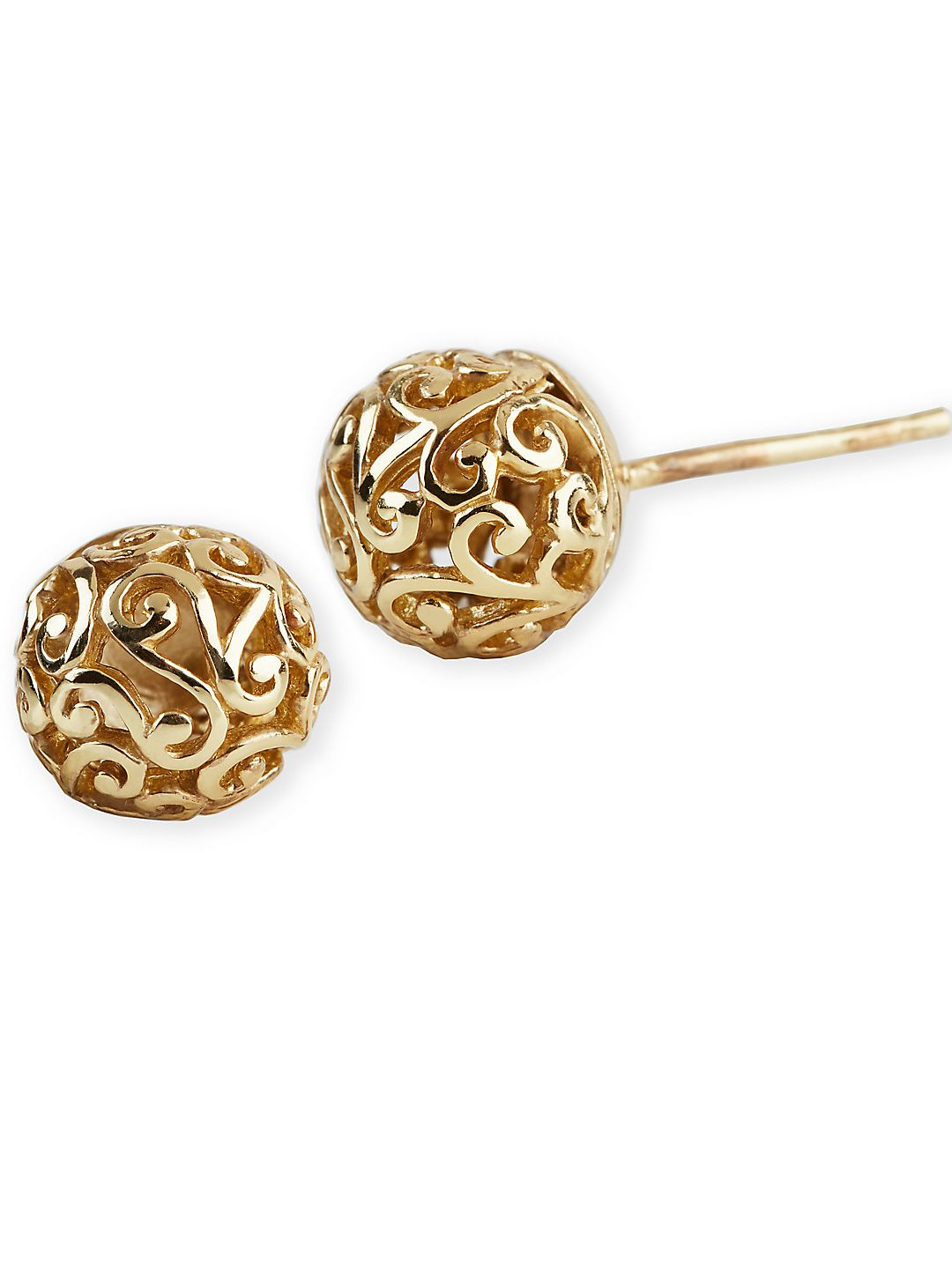 18K Gold Over Sterling Silver Lace Ball Earrings